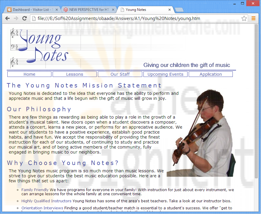 Additional Case 1 Creating a Music School Web Site Young Notes Home