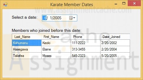 Advanced Visual Basic 2010 Chapter 4 Programming Challenge 3 Karate Member Dates