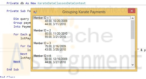 Advanced Visual Basic 2010 Chapter 7 Programming Challenge 3 Grouping Karate Payments