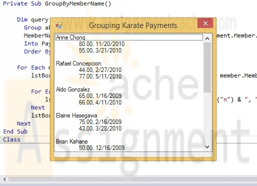 Advanced Visual Basic 2010 Chapter 7 Programming Challenge 4 Grouping Payments by Member Name