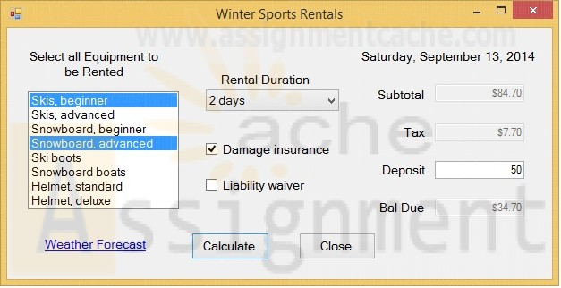 Advanced Visual Basic 2010 Programming Challenge 3 Winter Sports Rentals