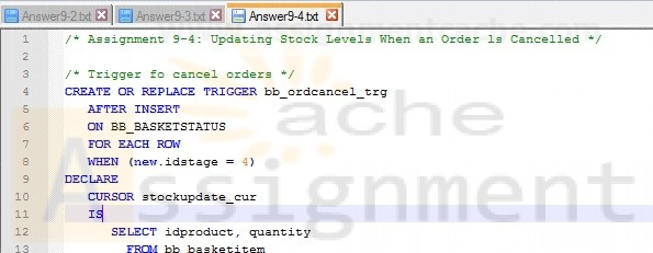 Assignment 9-4 Updating Stock Levels When an Order ls Cancelled