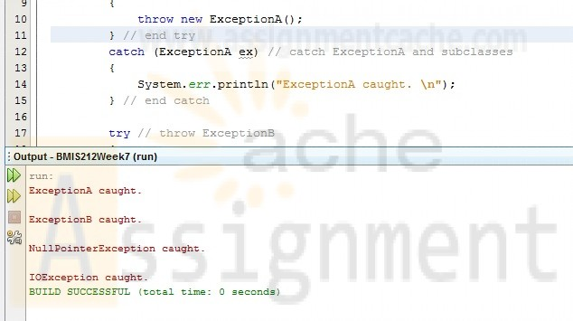 BMIS 212 Week 7 Programming Assignment Catching Exceptions Using Class Exception