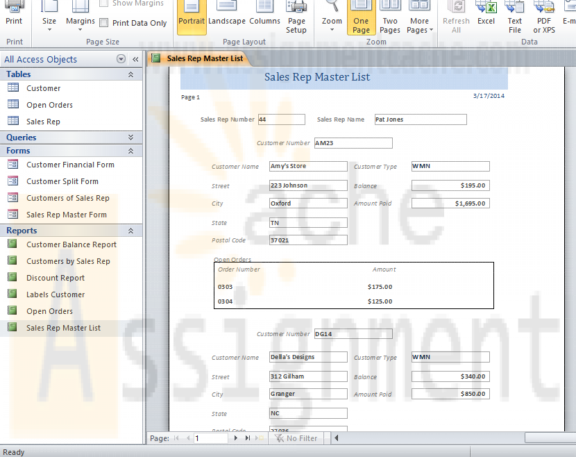 Chapter 6 Lab 1 Sales Rep Master List for the ECO Clothesline Database