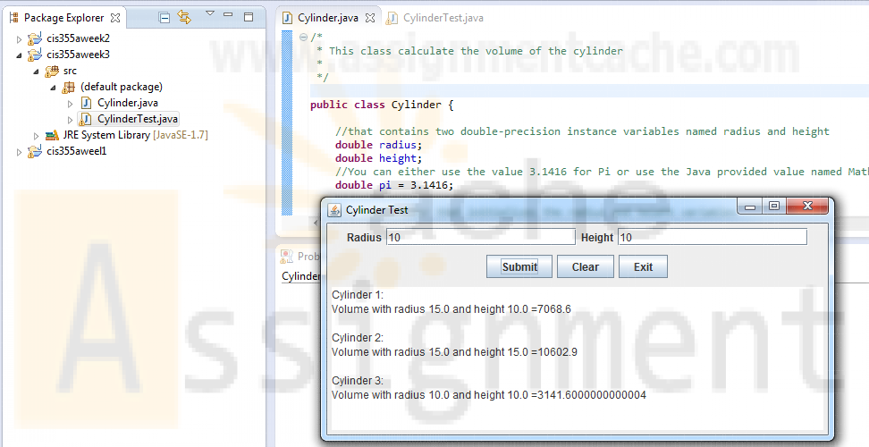 CIS355A iLab 3 Step 1 Cylinder Java Programs