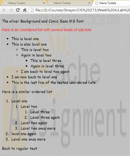 CIS 273 Lab Assignment 4 Nested Lists and Cascading Style Sheets with red arial font