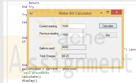 Clearly Visual Basic Chapter 16 Exercise 9 Water Bill Solution