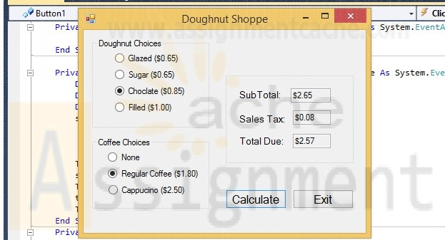 Clearly Visual Basic Chapter 17 Exercise 10 Doughnut Shoppe Solution