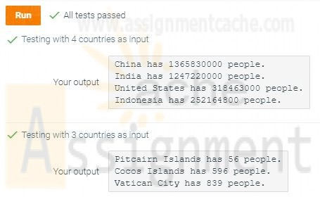 CYB130 Week 5 CHALLENGE ACTIVITY 6.22.1 Report country population