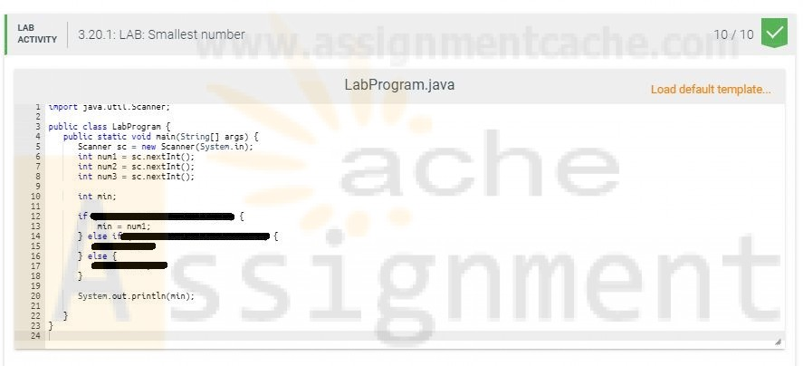 DAT210 Week 2 Java LAB 3.20 Smallest number output