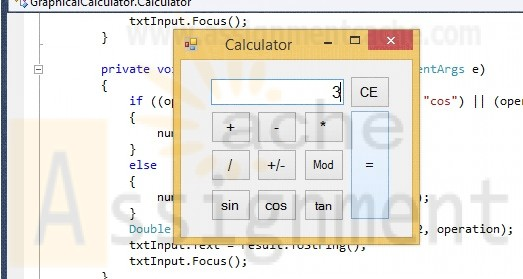 ITCO221 Unit 4 Graphical Calculator C# program