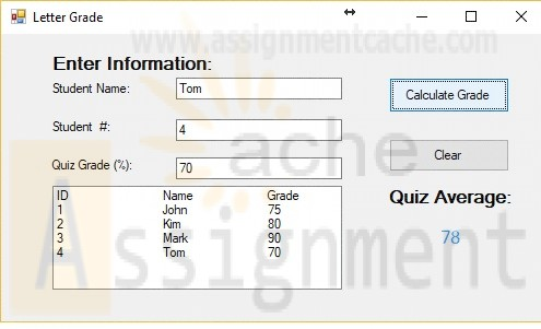 ITCO221 Unit 5 Calculate and display a letter grade for each student
