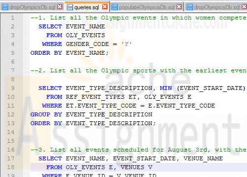 ITSE 2309 Oracle Olympics Database Queries
