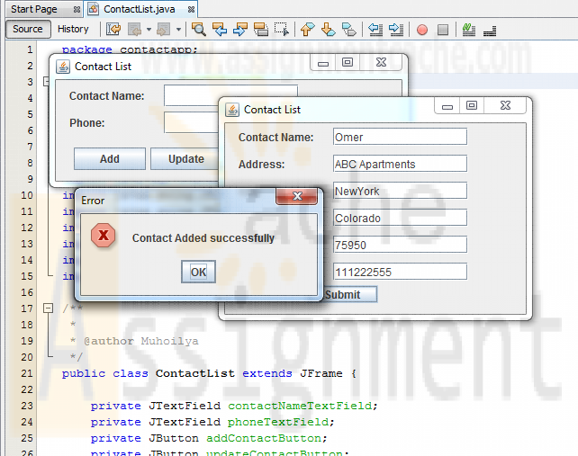 Java contact list application Add contact