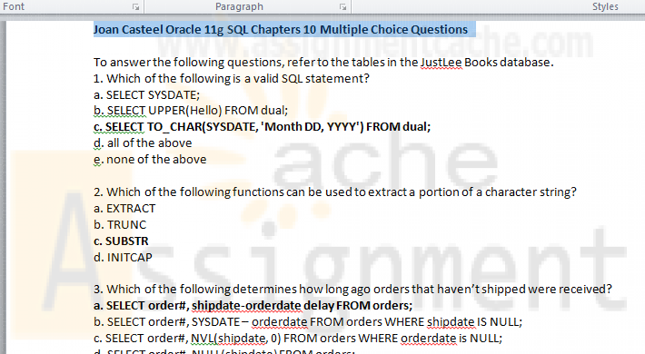 Joan Casteel Oracle 11g SQL Chapters 10 Multiple Choice Questions