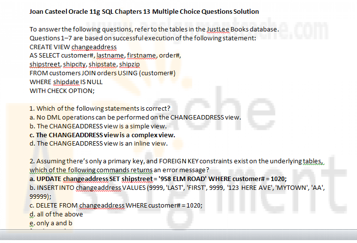 Joan Casteel Oracle 11g SQL Chapters 13 Multiple Choice Questions Solution