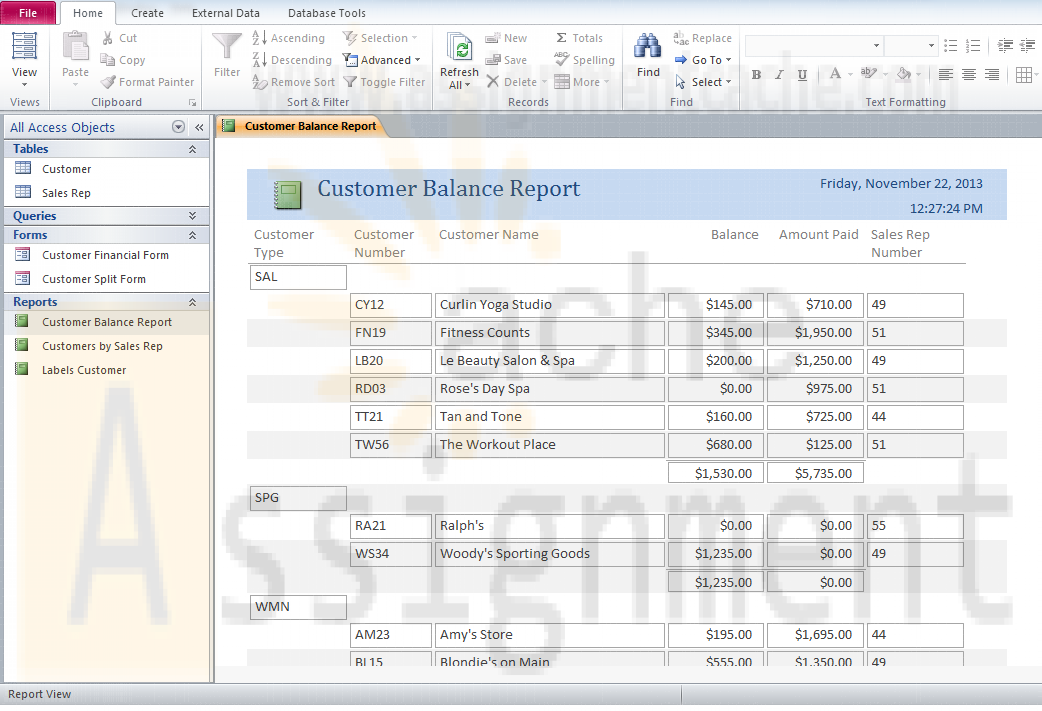 Microsoft Access 2010 Chapter 4 Lab 1 Customer Balance Report