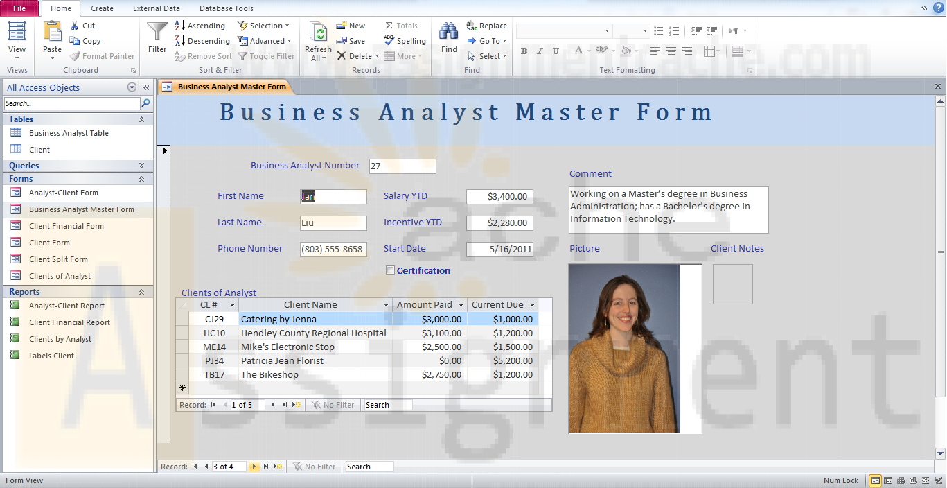 Multitable Forms Camashaly Design Business Analyst Master Form