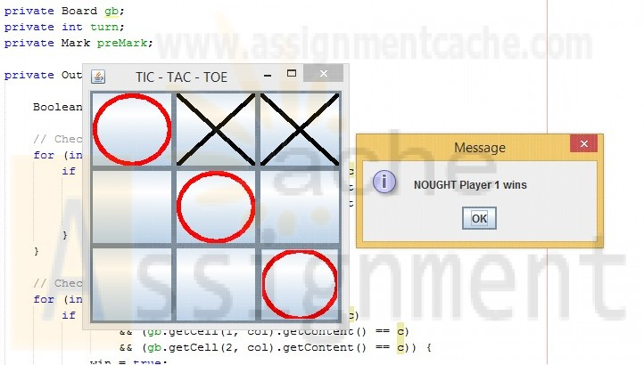 Penn foster Graded Final Project TicTacToe Game GUI Java Player 1 Wins