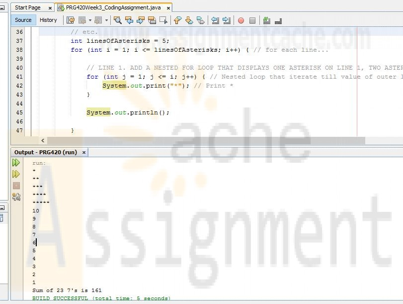 PRG420 Week 3 Individual Assignment Coding a Program Containing Loops Output and Code