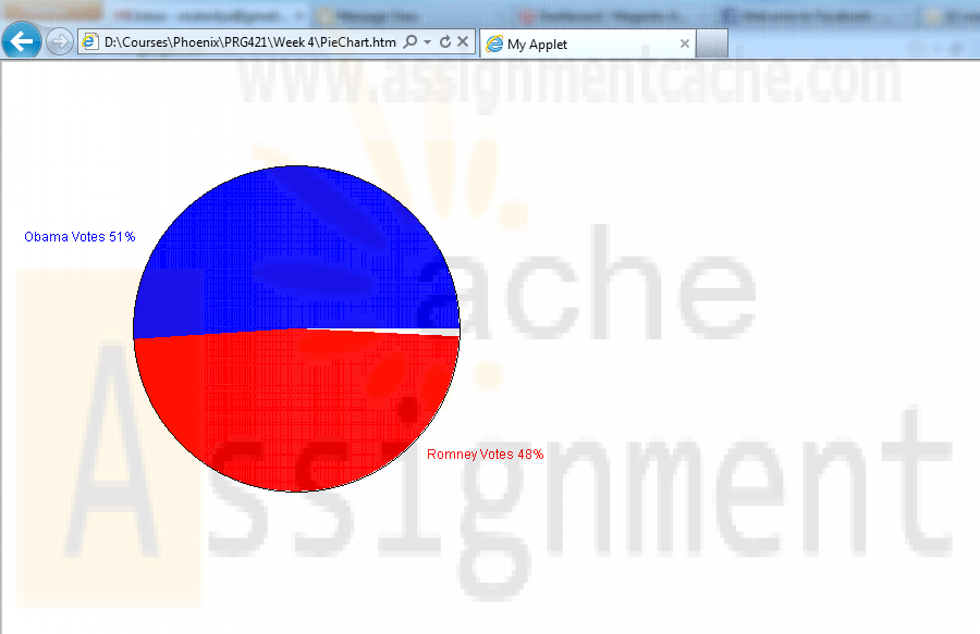 PRG 421 Week 4 Pie Chart Applet