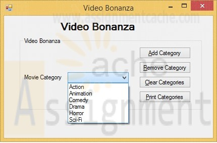 Programming in VB 2010 Video Bonanza list of Movie Categories