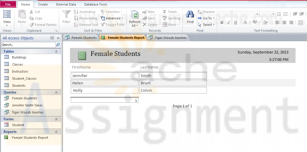 Student Database Design in Access