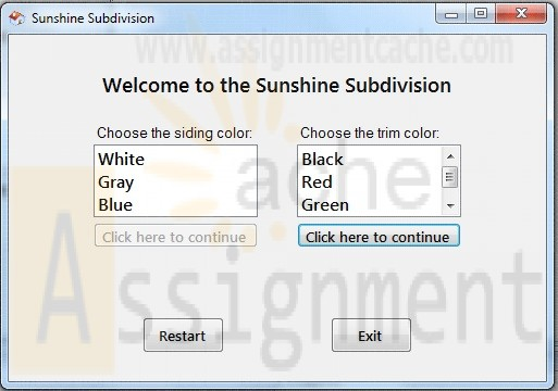 Sunshine Subdivision C# Application
