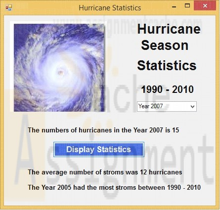 VB Chapter 9 Case Problem 3 Hurricane Season Statistics by Year Windows Application