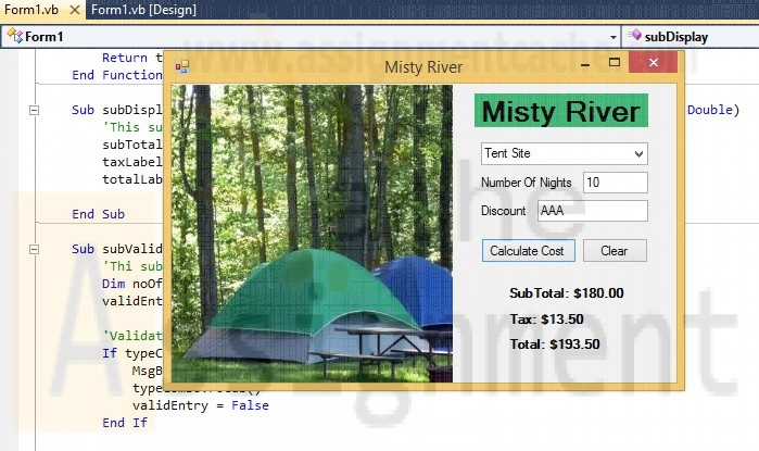 Visual Basic 2010 Shelly Cashman Series Chapter 8 Case Problem 5 MISTY RIVER CAMPGROUND RATES