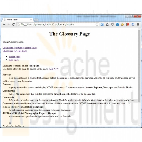 web page assignments