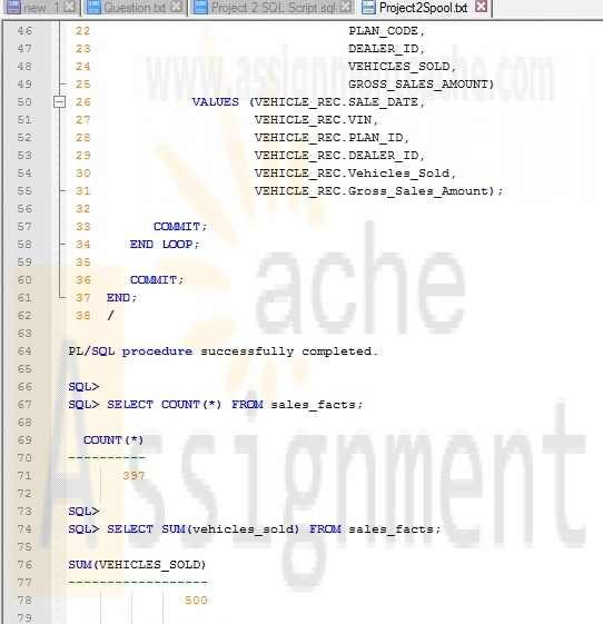 CMIS420 Project 2 Star Schema for OVS Database Spool File