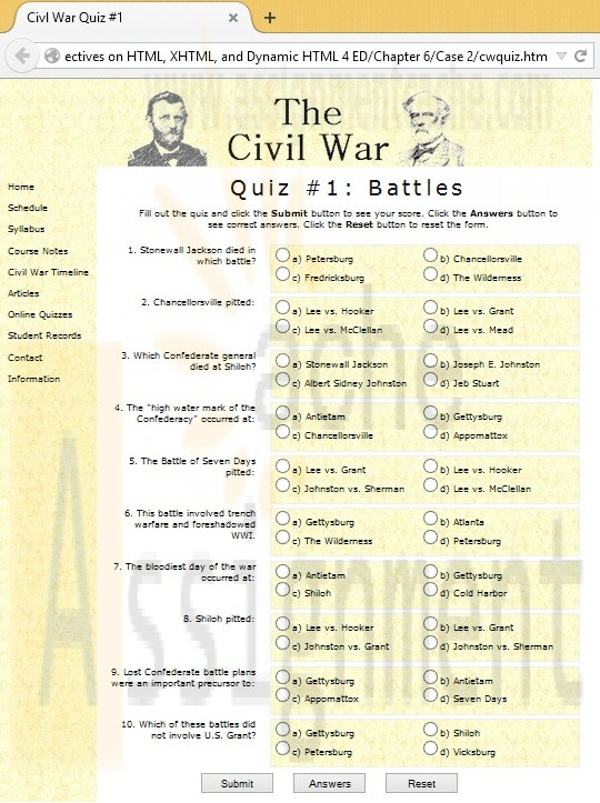 New Perspectives on HTML, XHTML, and Dynamic HTML Chapter 6 Case Problem 2 Civil War Studies